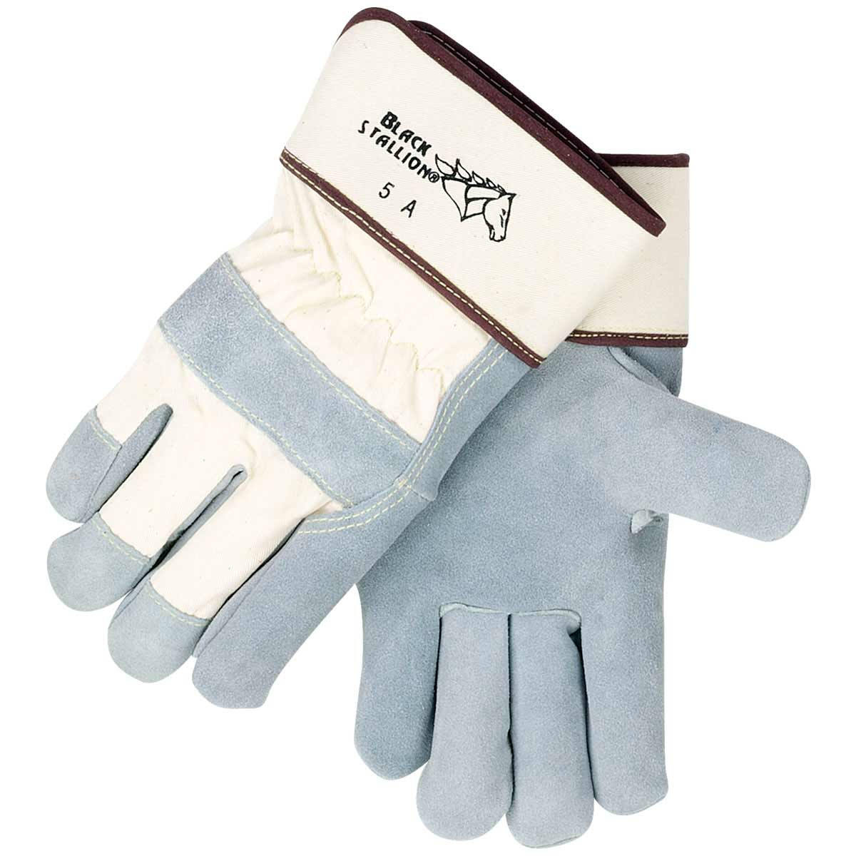 SIDE SPLIT COWHIDE - STRAP BACK PREMIUM LEATHER PALM WORK GLOVES. Pack 12. Large. 5AL