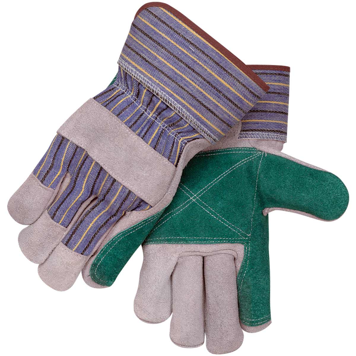 SHOULDER SPLIT COWHIDE-DOUBLE PALM SPECIALTY LEATHER PALM WORK GLOVES. Pack 12. Large. 6DP