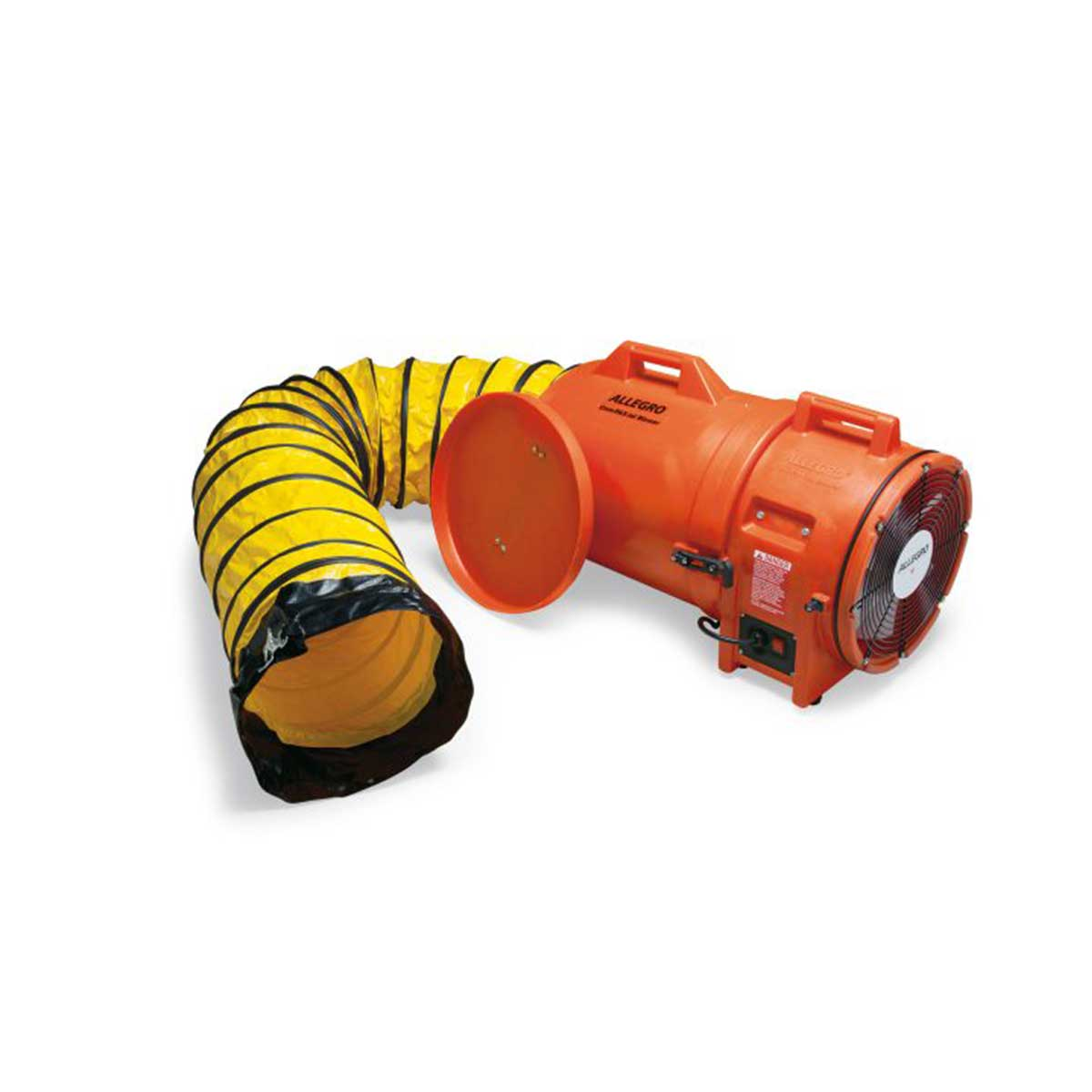 12″ Axial AC Plastic Blower w/ Canister & 25′ Ducting. Part: ALL-9543‐25. Pkg: