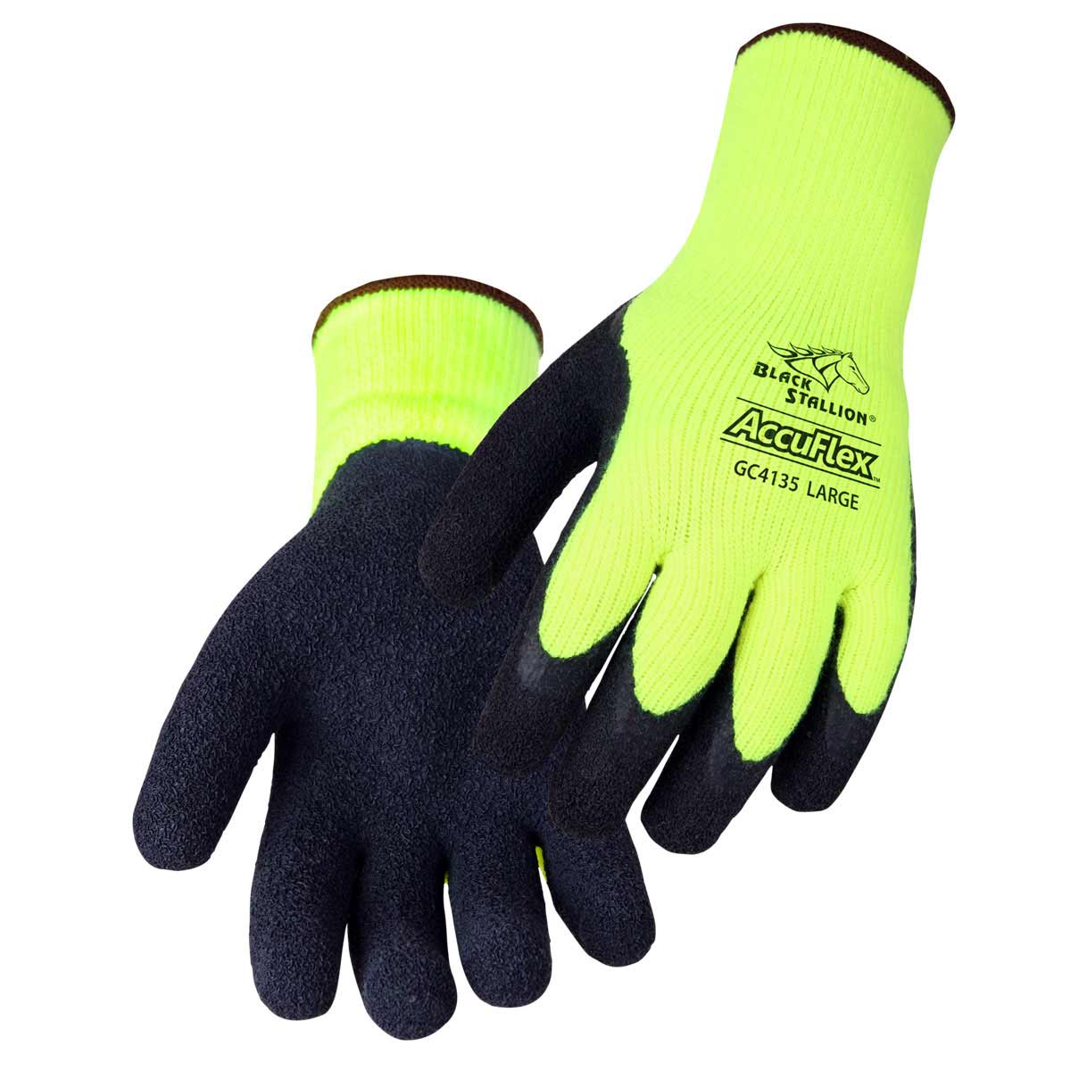 ACRYLIC TERRY LATEX COATED PALM NYLON KNIT GLOVES. Pack 12. X Large. GC4135-HY-XLG
