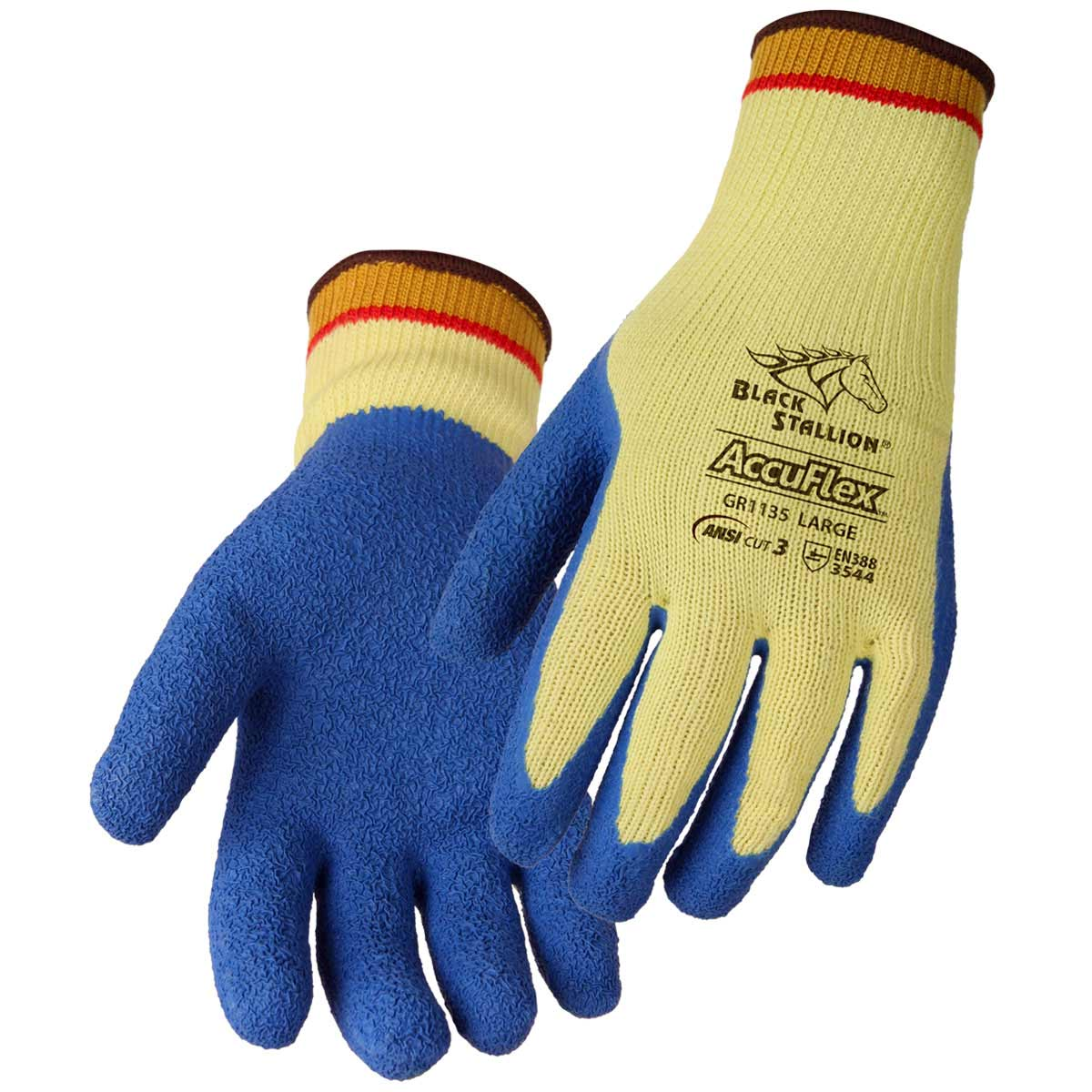 CUT RESISTANT LATEX COATED KEVLAR GLOVES. Pack 12. X Large. GR1135-YL-XLG