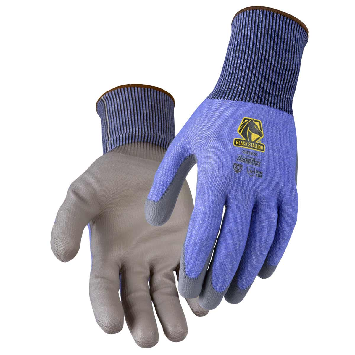 A2 CUT RESISTANT PU COATED BLUE/GRAY 15G HPPE BLEND GLOVE. Pack 12. X Large. GR3920-BG-XLG