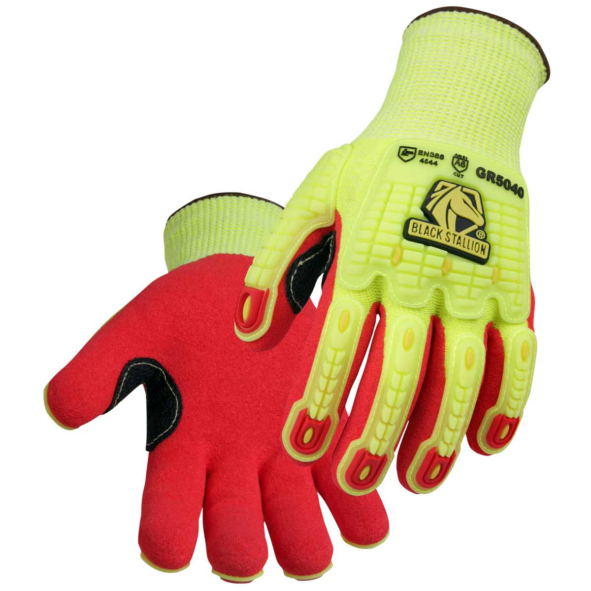 A6 CUT RESISTANT AND IMPACT SANDY NITRILE COATED HI-VIS HPPE BLEND GLOVE. Pack 6. Medium. GR5040-HR-MED