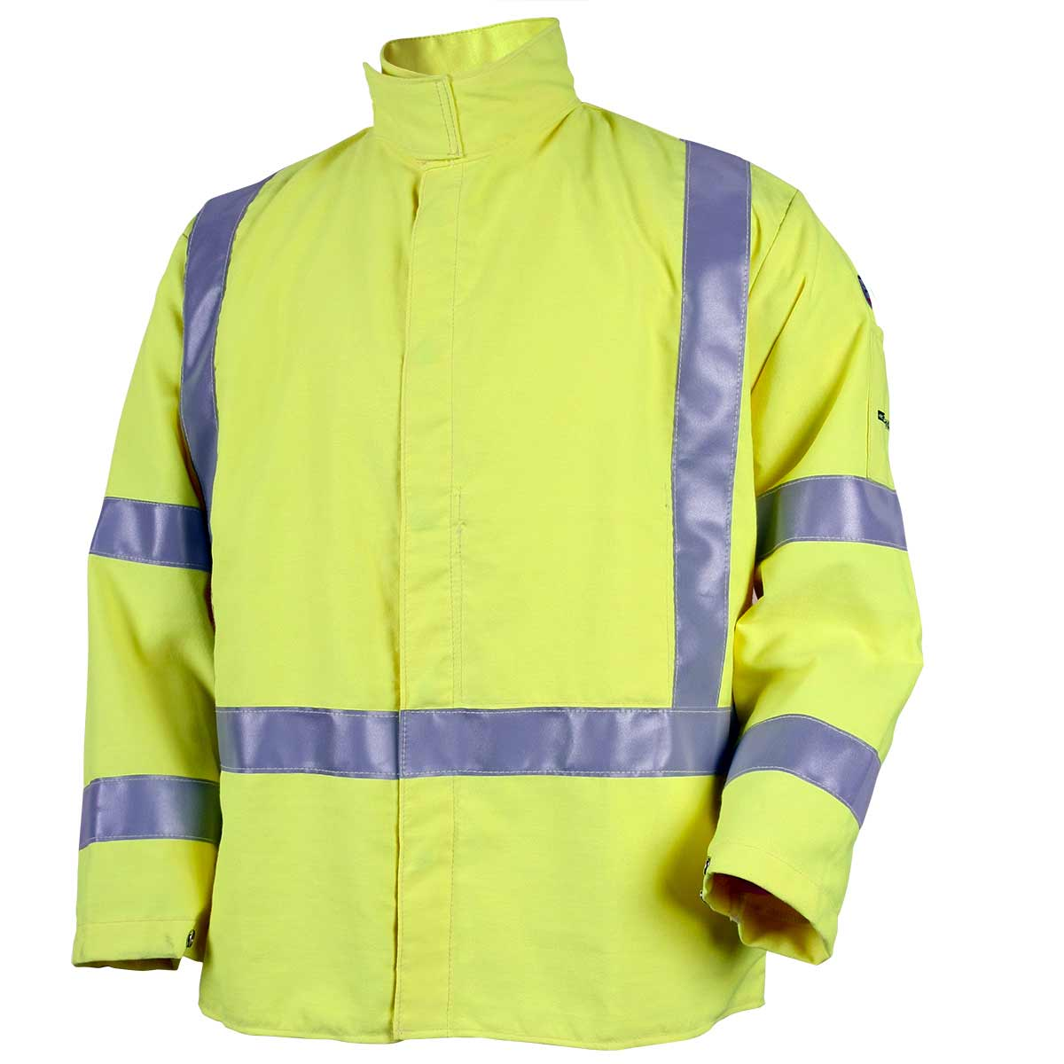 9 OZ FLAME RESISTANT ANSI HI-VIS ARCWELD JACKET WITH SILVER REFLECTIVE. Pack 1. X Large. JF4312-HY-XLG
